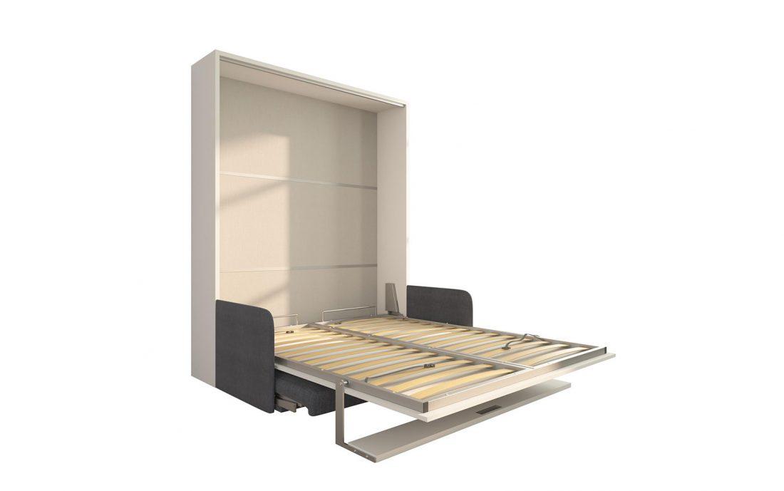 Brezza 160 - Un pratico letto a scomparsa con divano e mensola dal movimento facilitato
