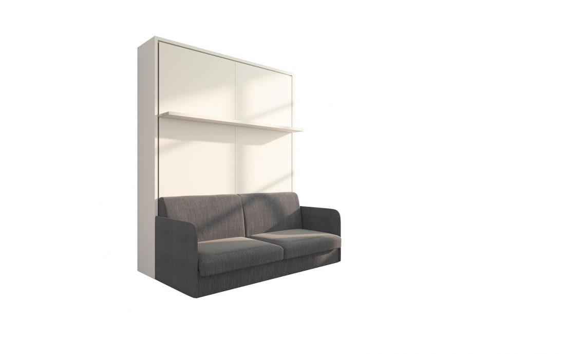 Brezza 160 Slim - Divano letto matrimoniale ribaltabile a parete con mensola e movimento semi automatico