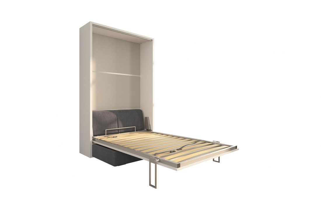 Piuma Sofa 120 Easy - Mobile letto a scomparsa verticale da una piazza e mezzo con divano due posti
