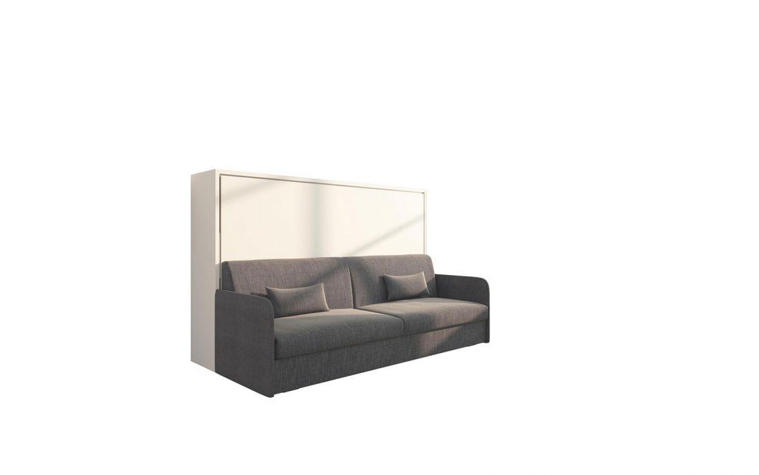 Piuma Sofa 120 Orizzontale Slim - Mobile letto con rete da 120 cm e divano quattro posti con cuscini