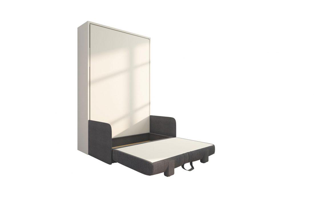 Piuma Sofa 120 Slim - Mobile letto ribaltabile da una piazza e mezzo con divano due posti contenitore