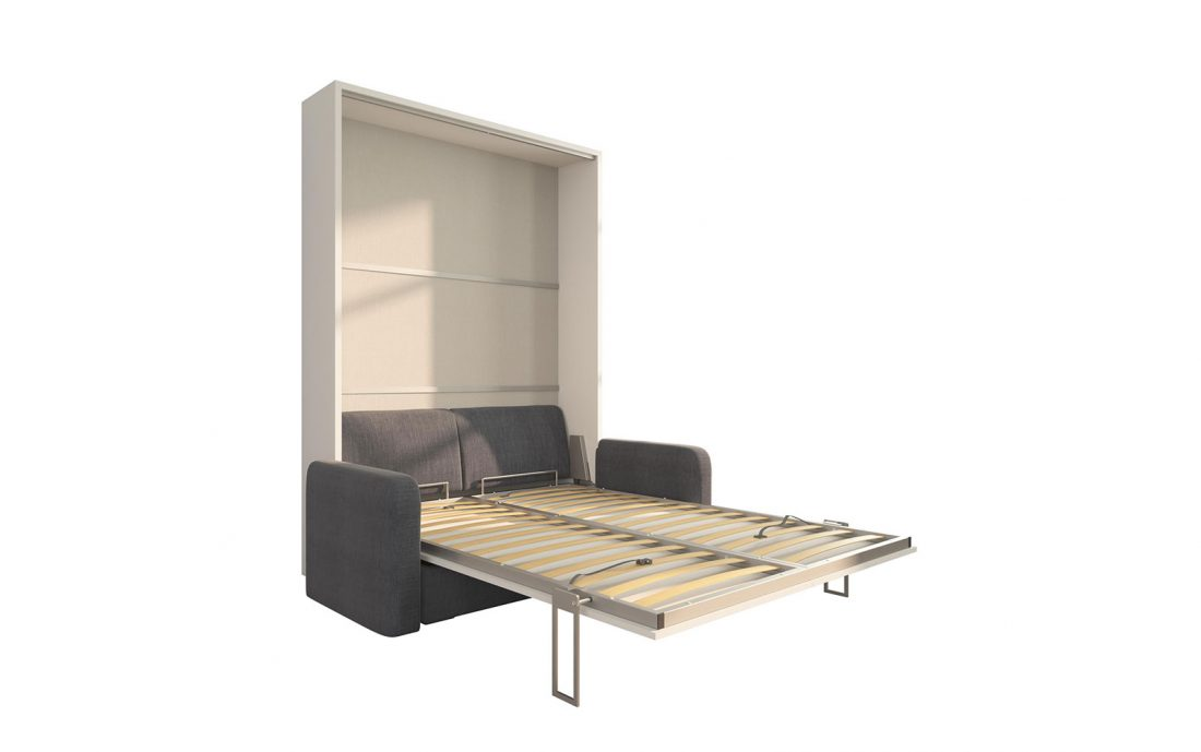 Piuma Sofa 140 Big - Letto a scomparsa due piazze alla francese con divano due posti e cuscini