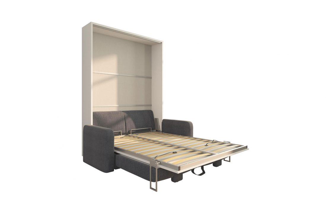 Piuma Sofa 140 - Mobile letto a scomparsa a due piazze alla francese con divano contenitore