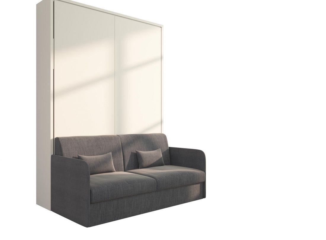Piuma Sofa 140 Slim - Mobile letto ribaltabile a scomparsa alla francese con divano due posti braccioli sottili
