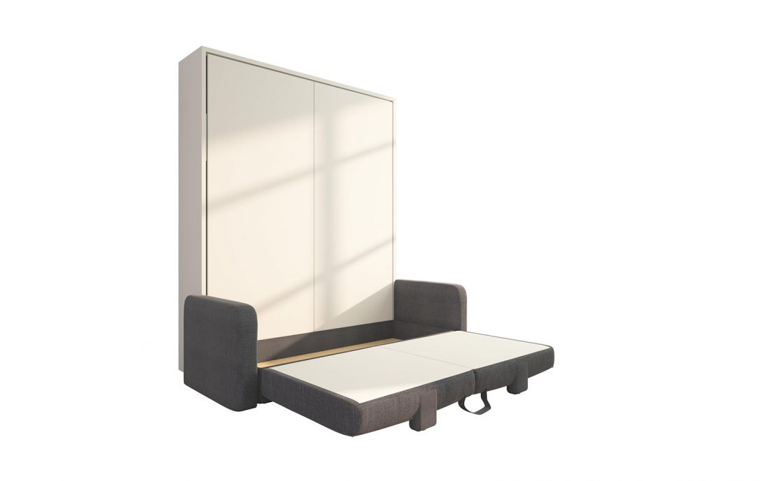 Piuma Sofa 160 Big - Letto a scomparsa matrimoniale con divano contenitore, aperto
