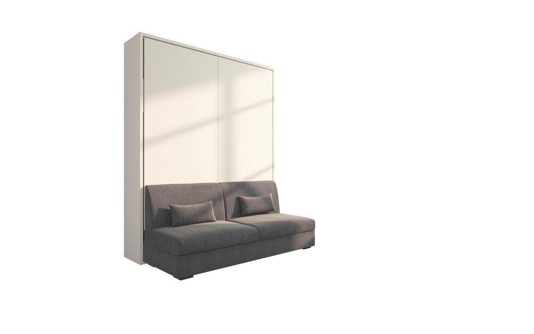 Piuma Sofa 160 - Mobile letto matrimoniale a scomparsa con divano 3 poste