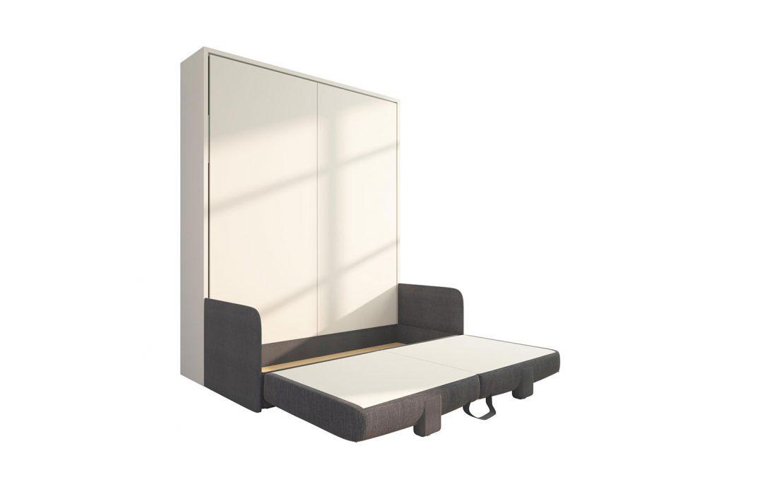 Piuma Sofa 160 Slim - Mobile letto matrimoniale con divano contenitore