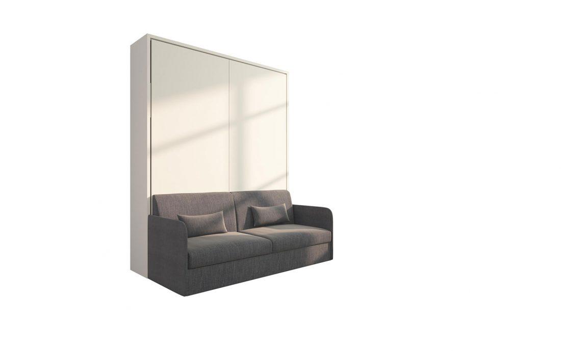 Piuma Sofa 160 Slim - Mobile letto matrimoniale a scomparsa con divano 3 posti