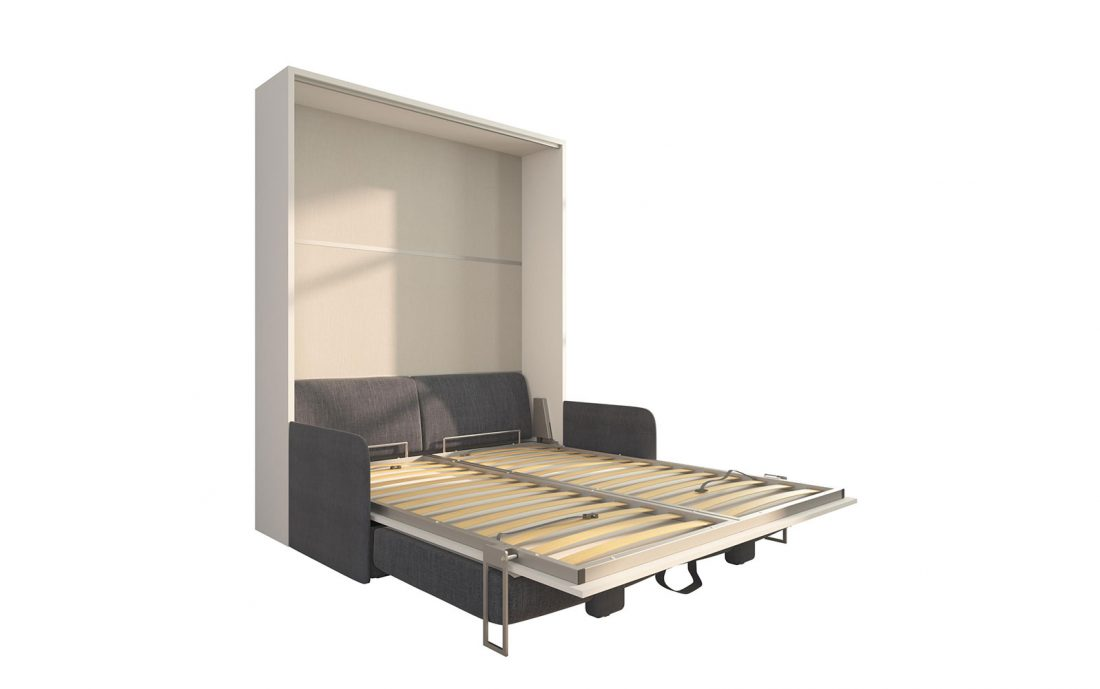 Piuma Sofa 160 Slim - Mobile letto ribaltabile con divano contenitore tre sedute