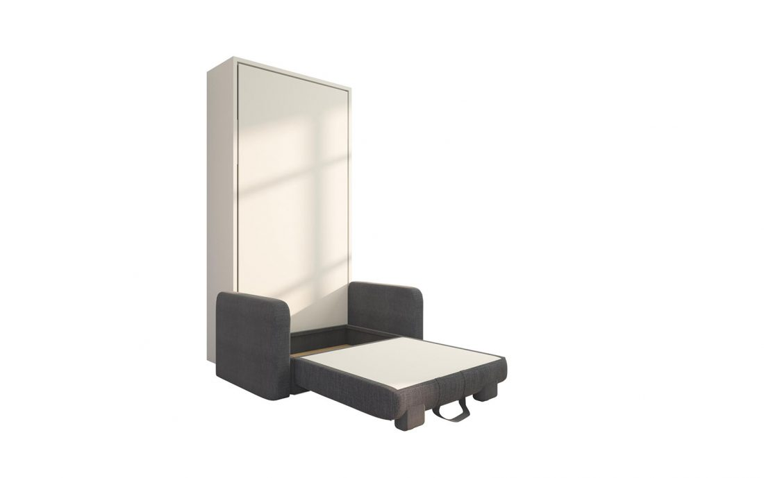 Piuma Sofa 90 Big - Mobile letto a scomparsa verticale singolo con poltrona contenitore