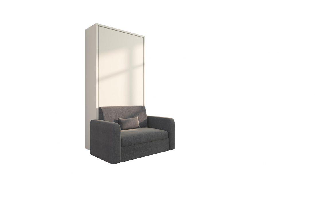 Piuma Sofa 90 Big - Letto verticale a scomparsa singolo con poltrona dai braccioli larghi