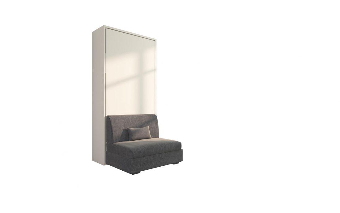 Piuma Sofa 90 Easy - Mobile letto singolo a scomparsa con poltrona e cuscino