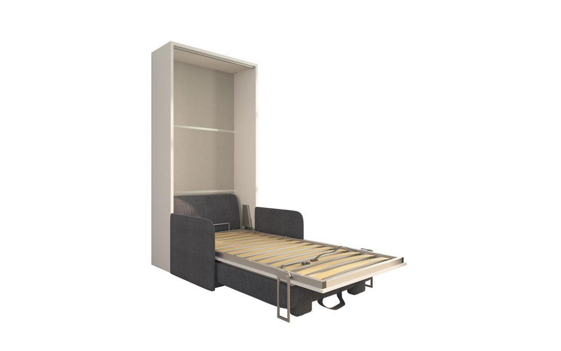 Piuma Sofa 90 Slim - Soluzione poltrona letto a scomarsa singolo con contenitore e rete in doghe da 90 x 200 cm