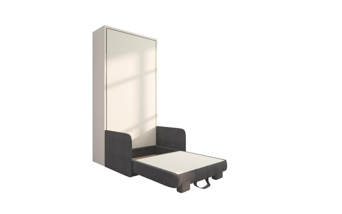 Piuma Sofa 90 Slim - Letto a scomparsa singola piazza con poltrona contenitore con braccioli sottili