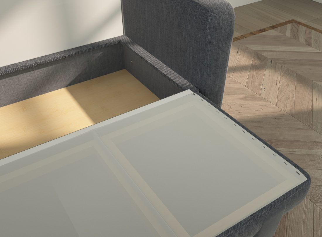 Dettaglio dell'ampio contenitore sotto al divano con seduta ribaltata