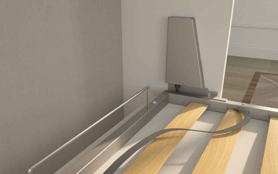 Dettaglio del carter che a letto aperto protegge i pistoni e della barra di sostegno del materasso