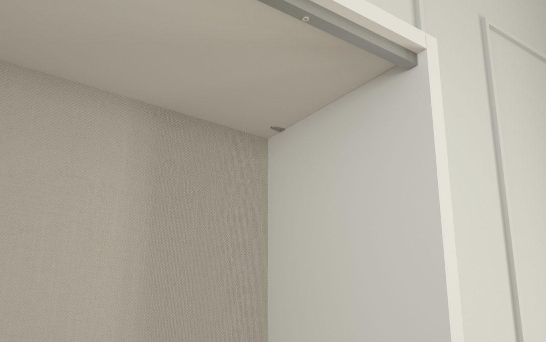 Dettaglio della parte superiore della struttura del letto a scomparsa con barra di rinforzo e fondo corsa