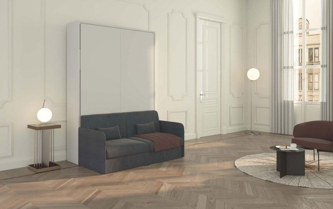 Il comodo divano due posti del Piuma Sofa 140 letto a scomparsa verticale