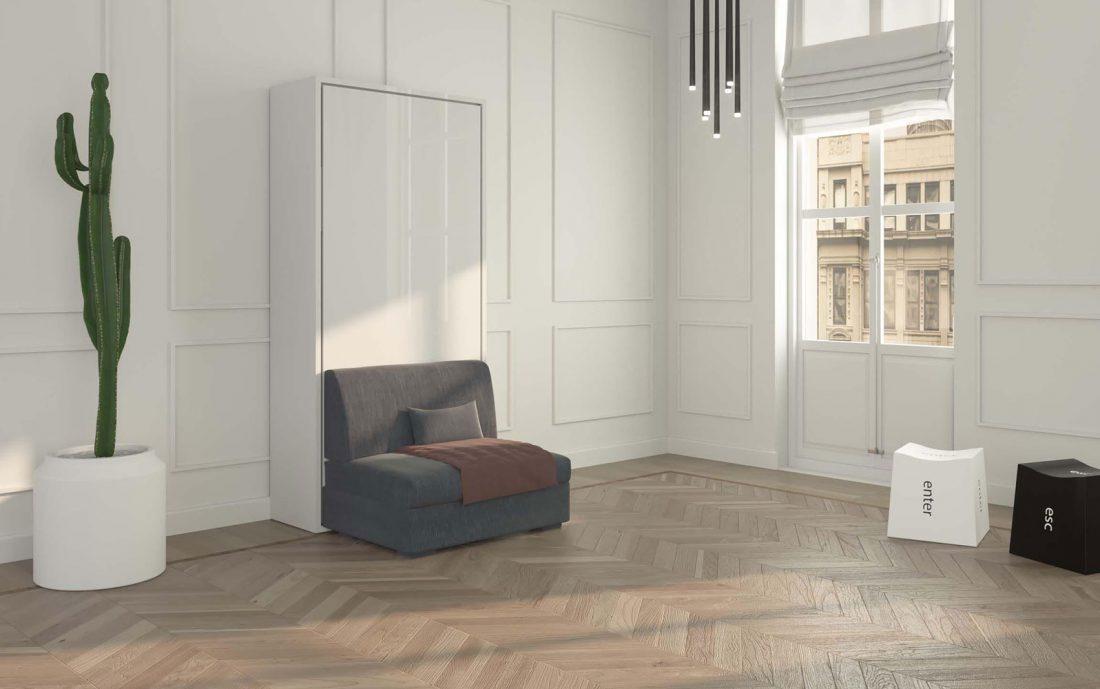 Mobile letto ribaltabile singolo con comoda poltrona senza braccioli