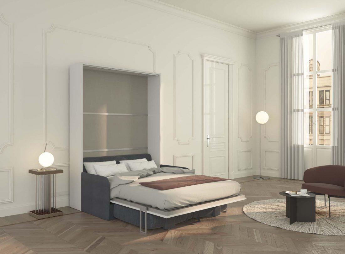 Piuma Sofa 140 verticale con divano contenitore e letto aperti per la notte