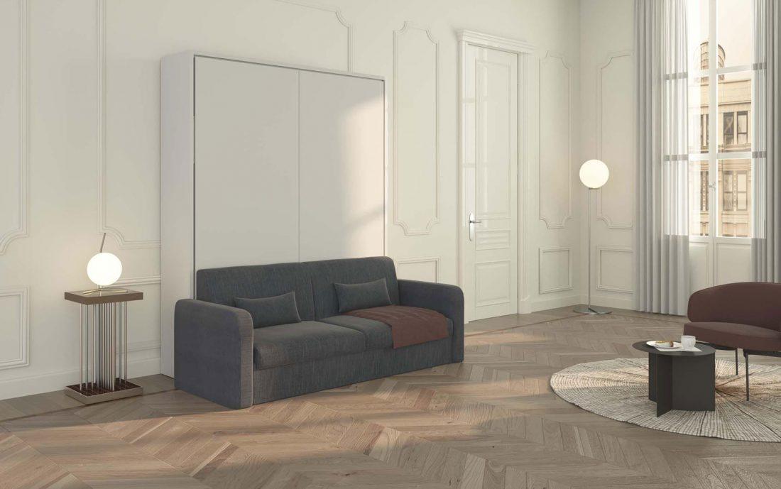 Letto a scomparsa Piuma Sofa 160 con comodo divano 3 posti, racchiuso in elegante mobile moderno