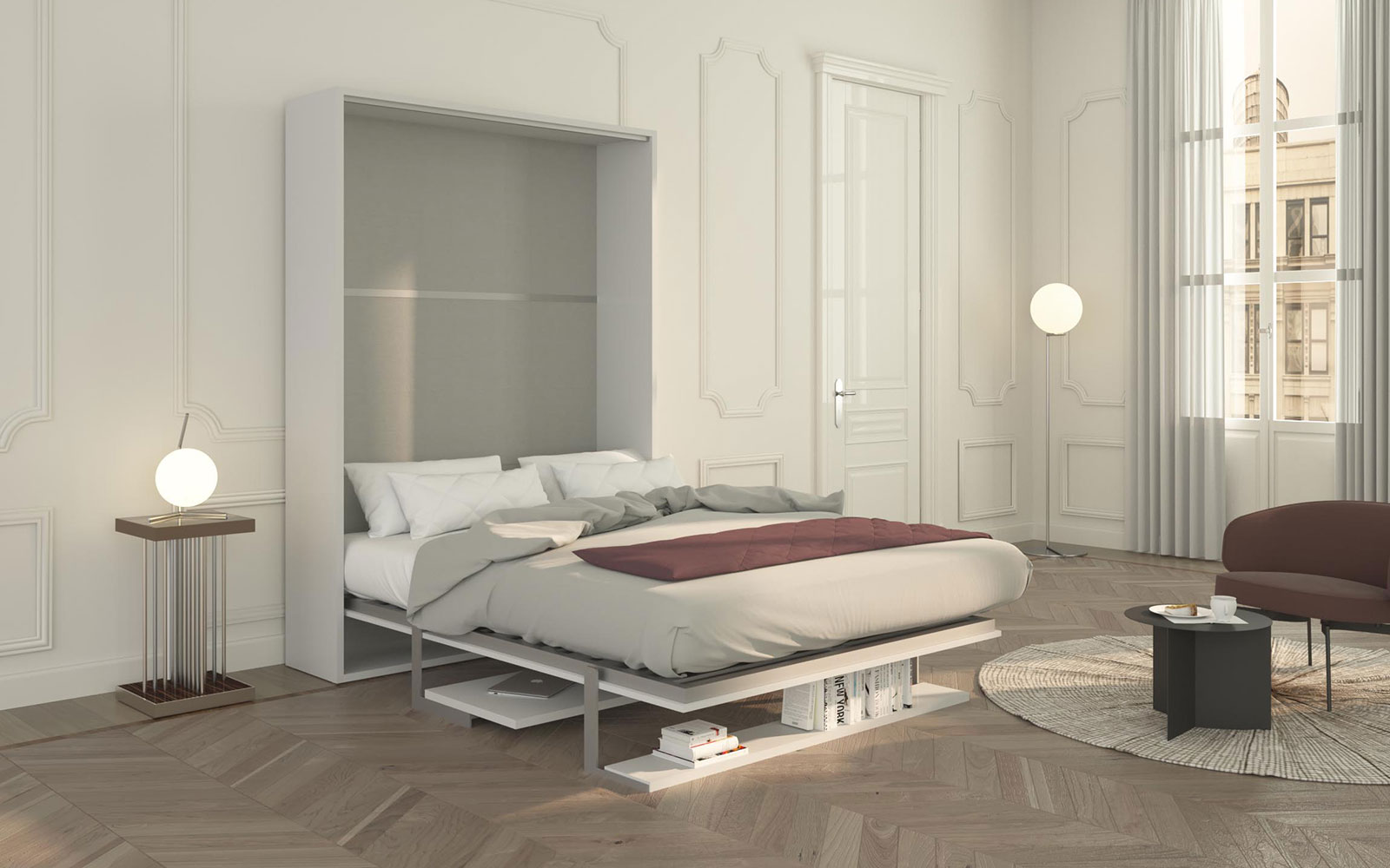 Cielo 140 letto a scomparsa con scrivania e mensola for Mensola sopra letto
