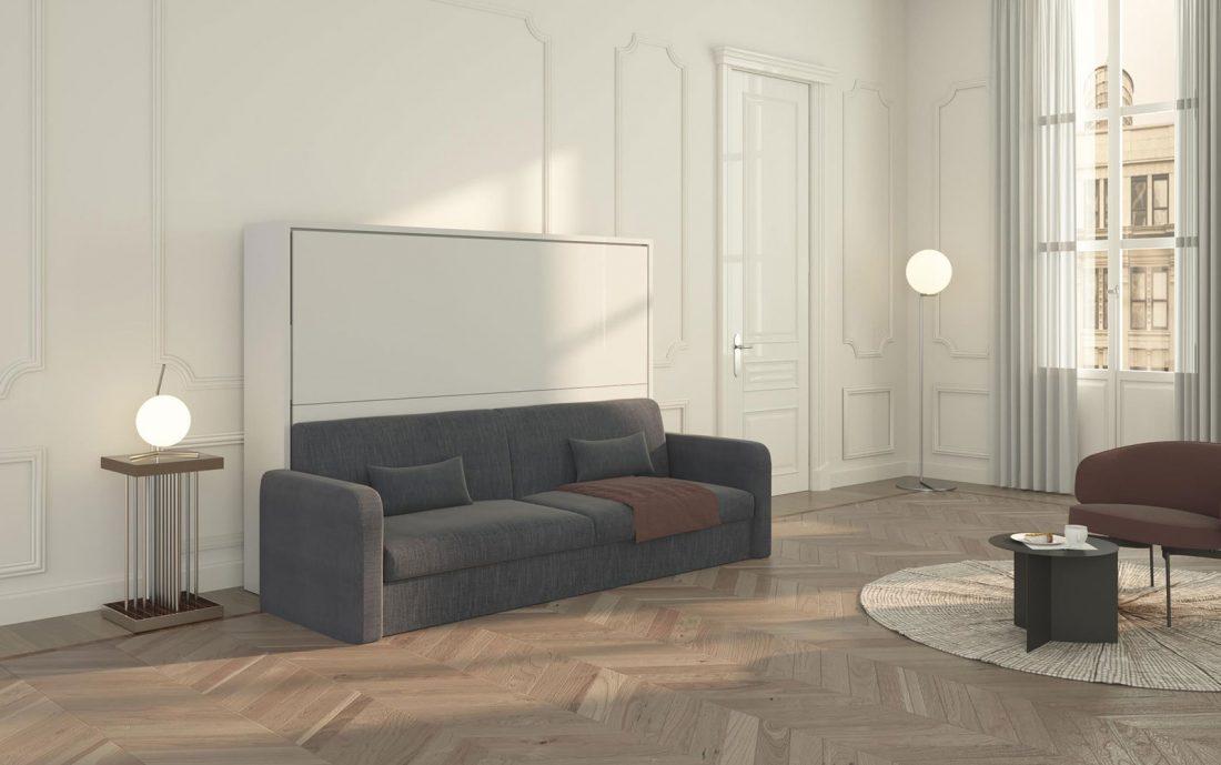 Letto a scomparsa alla francese con divano e mobile letto basso