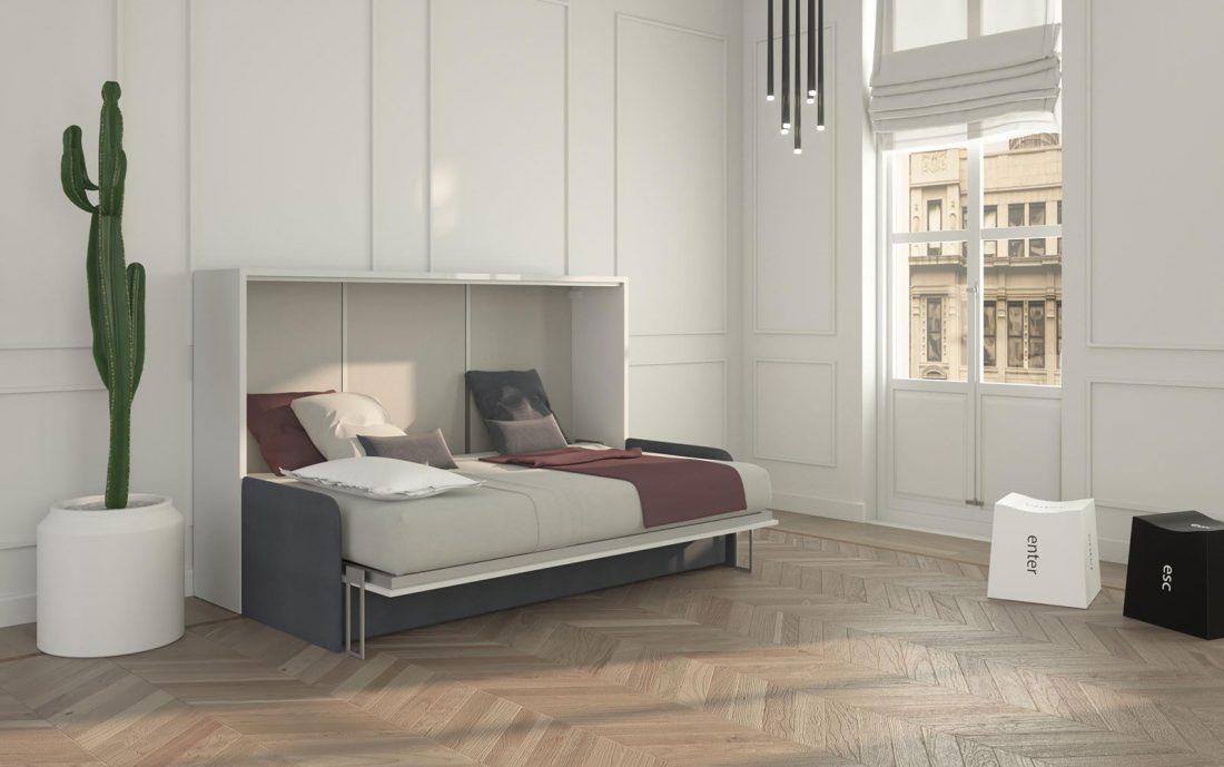 Il mobile letto a scomparsa da 120 con divano tre posti è molto compatto ed ergonomico