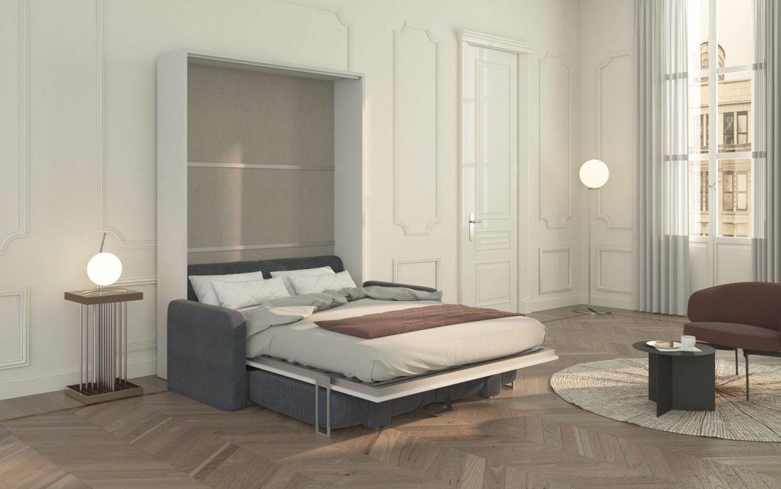 Il letto ribaltabile alla francese si apre in pochi istanti supra al divano contenitore