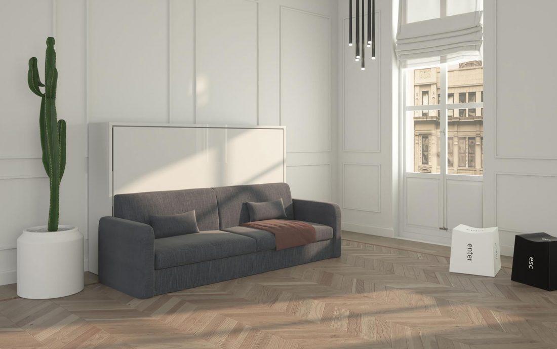 Mobile letto ribaltabile da una piazza e mezzo con divano quattro posti largo e comodo
