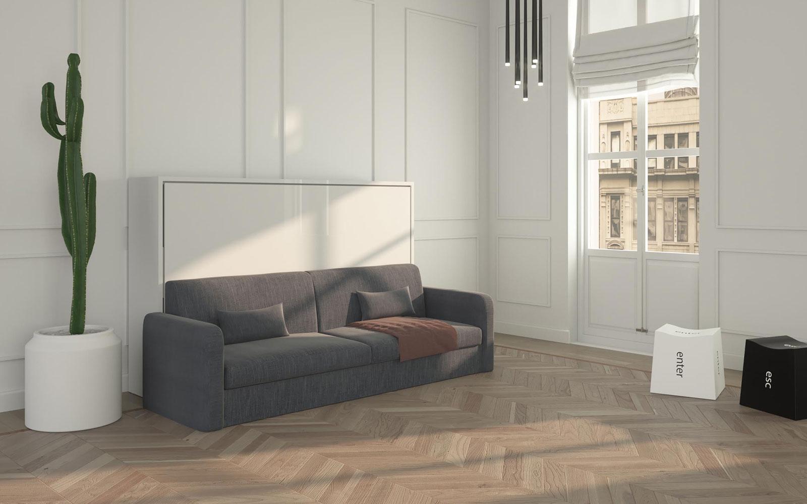 Letto a scomparsa 1 piazza e 1 2 orizzontale con divano for Divano quattro posti