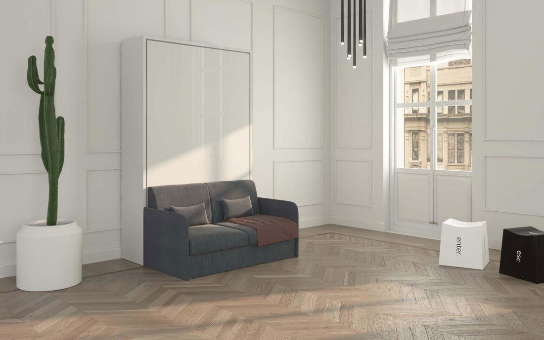 Letto una piazza e mezzo ribaltabile chiuso con divano 2 posti braccioli sottili