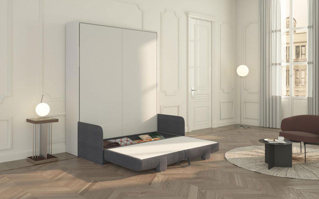 Contenitore del letto Piuma Sofa 160 aperto con dentro accessori per la notte