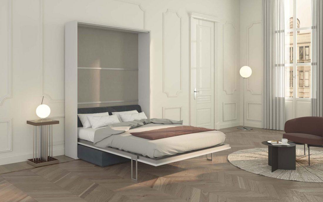 Letto alla francese a scomparsa con divano aperto e rete in doghe per materassi alti