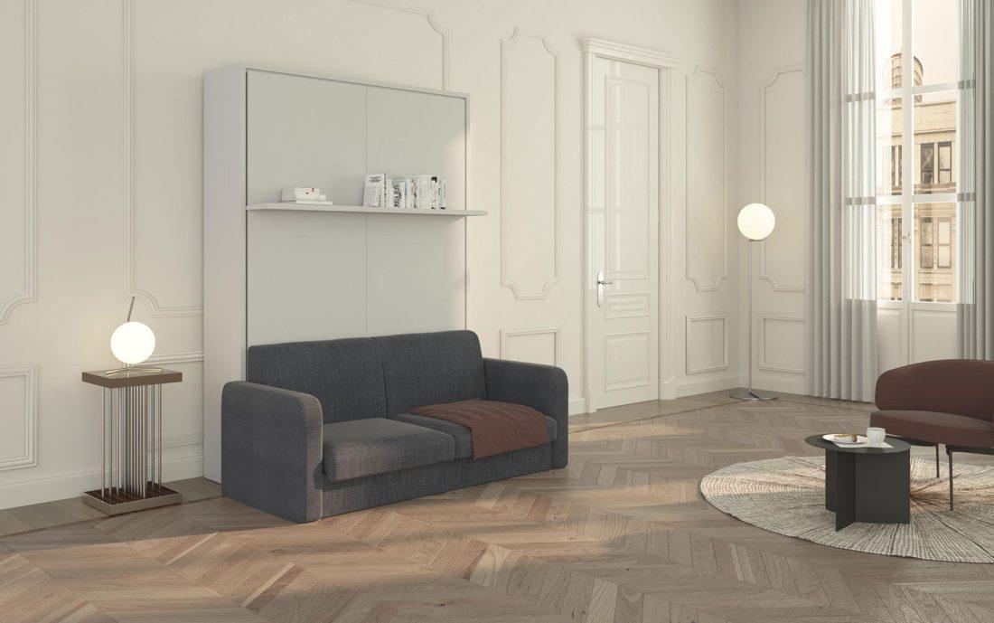 Letto a scomparsa Brezza 140 con divano e mensola automatici chiuso a parete!