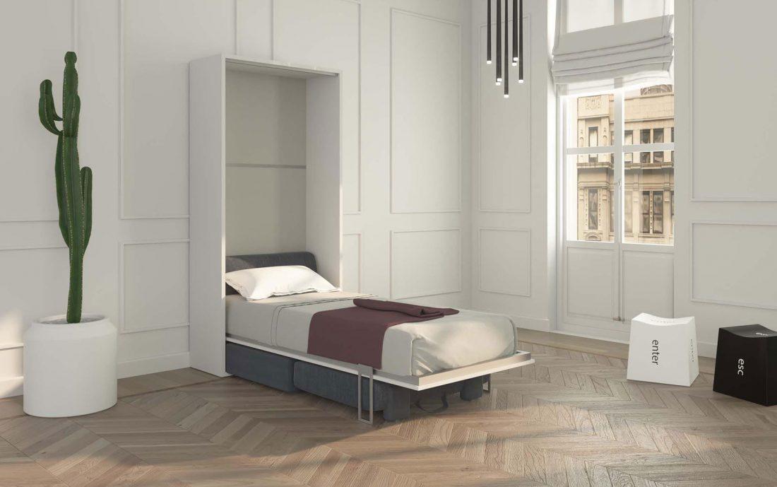 Puff letto aperto con rete in doghe singola piazza 90x200