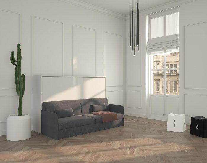 Piuma sofa 120 letto a scomparsa orizzontale con divano for Letto a scomparsa con divano