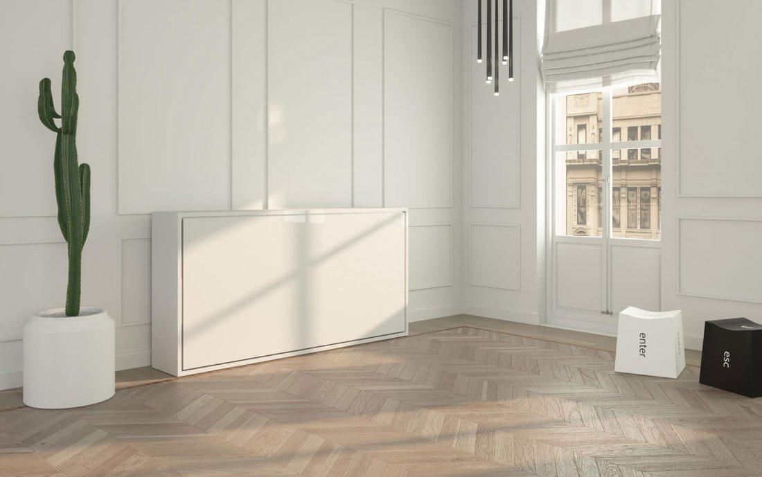 Mobile letto singolo orizzontale con struttura bassa ideale per mansarde e sottotetti