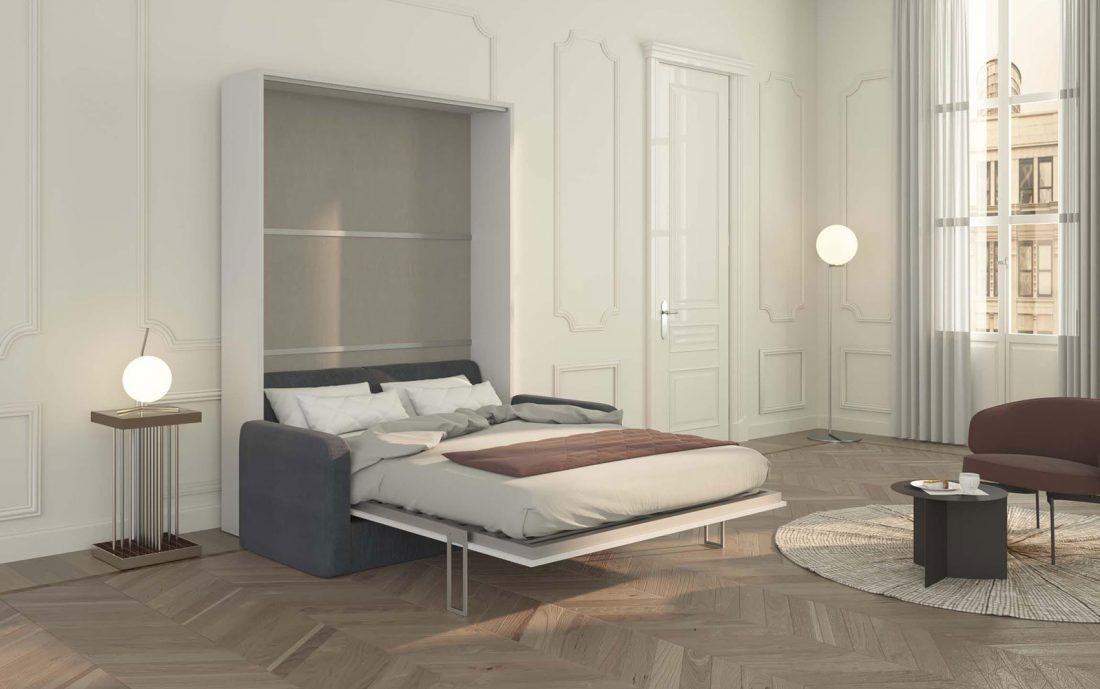 Il letto con rete in doghe 140x200 cm si apre sul divano in modo rapido e semplice