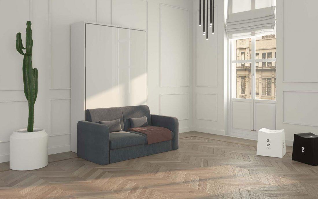 Mobile letto ribaltabile 1 piazza e mezzo con divano due posti