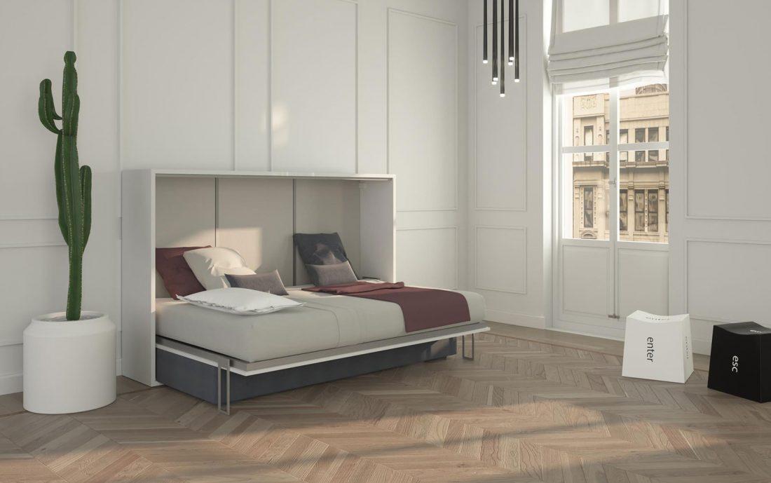 Il comfort del letto una piazza e mezzo a scomparsa aperto con rete in doghe e materasso alto