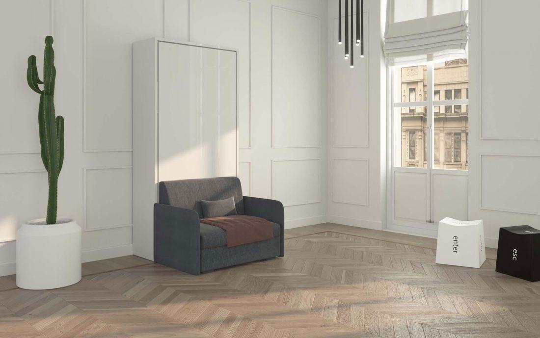 Mobile letto a parete richiudibile singola piazza 90 con poltrona