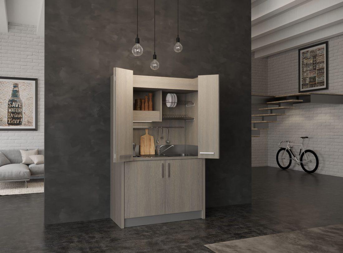 Cucina a scomparsa Brianza 43 con ante aperte, mini frigo a sinistra e lavabo a destra