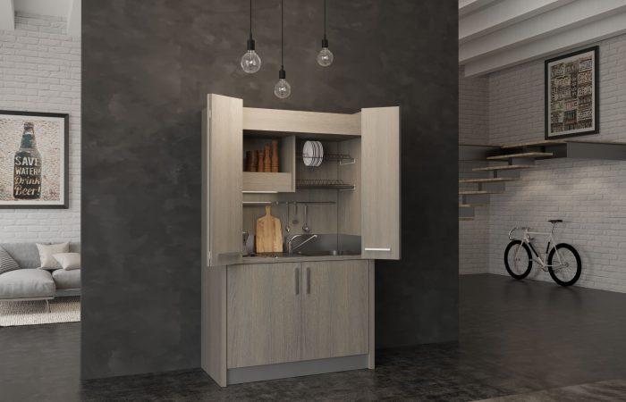 Brianza - cucina a scomparsa con chiusura ad ante per luogo di lavoro