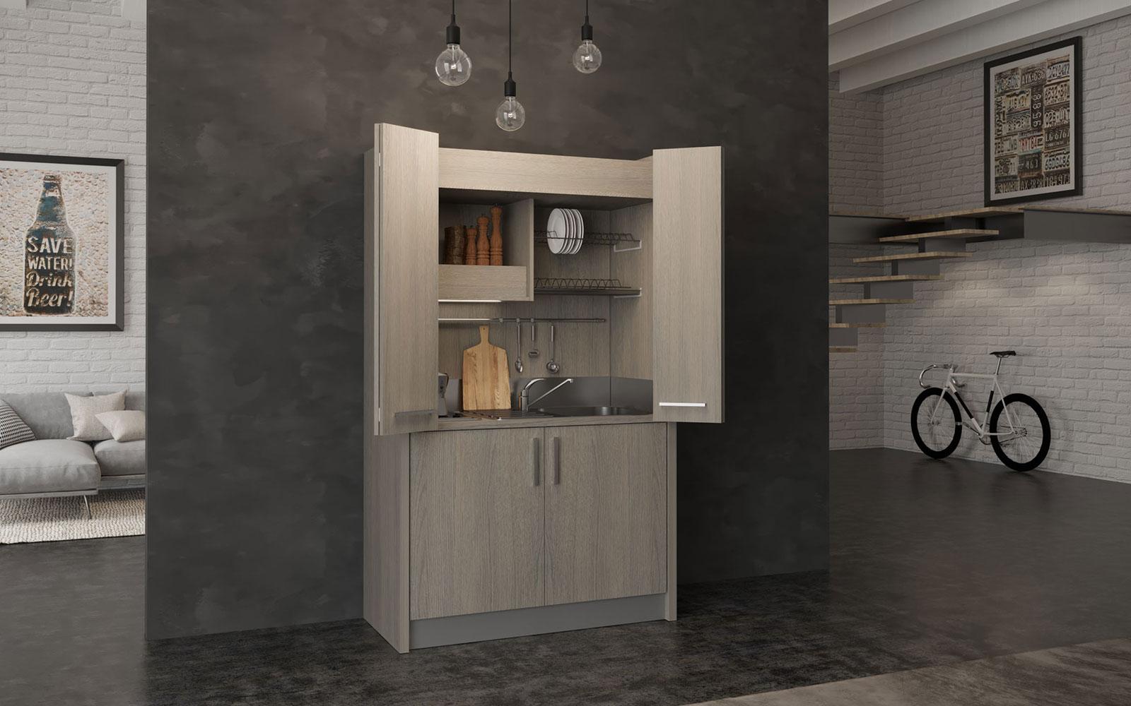 Brianza DX - Cucina armadio a scomparsa con chiusura ad ante da 128cm