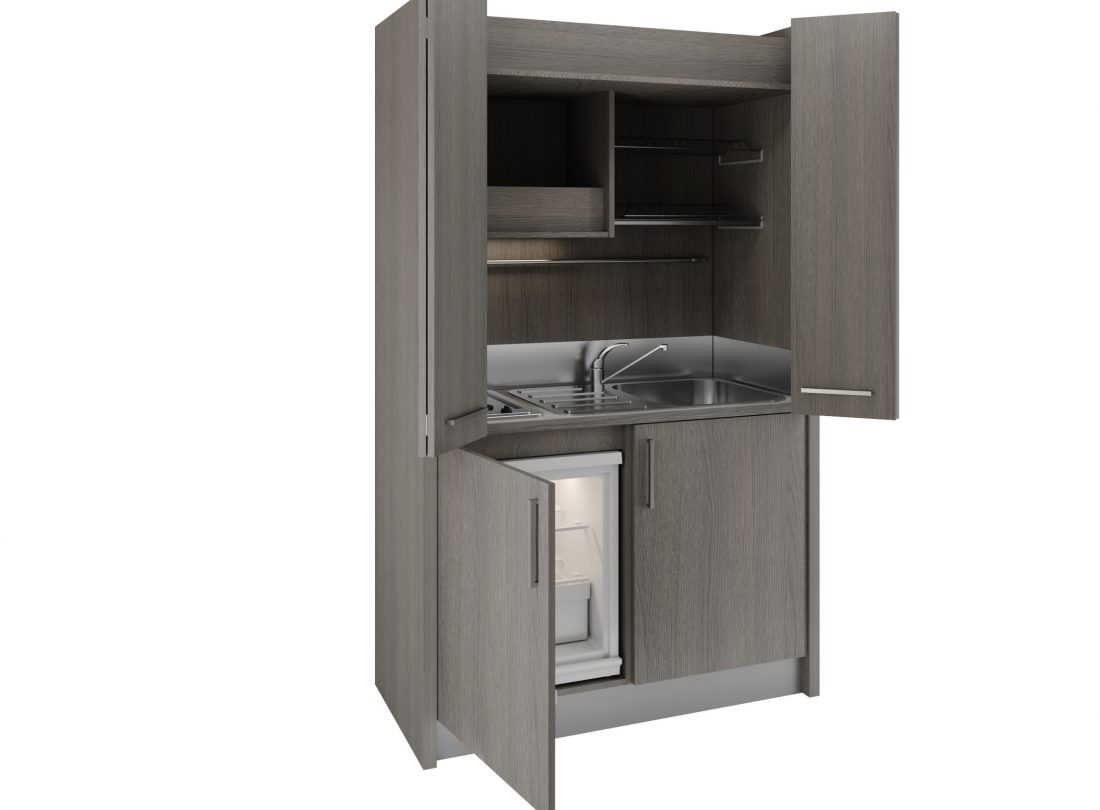 Mini cucina a scomparsa Brianza 43 con ante aperte e lavabo a destra