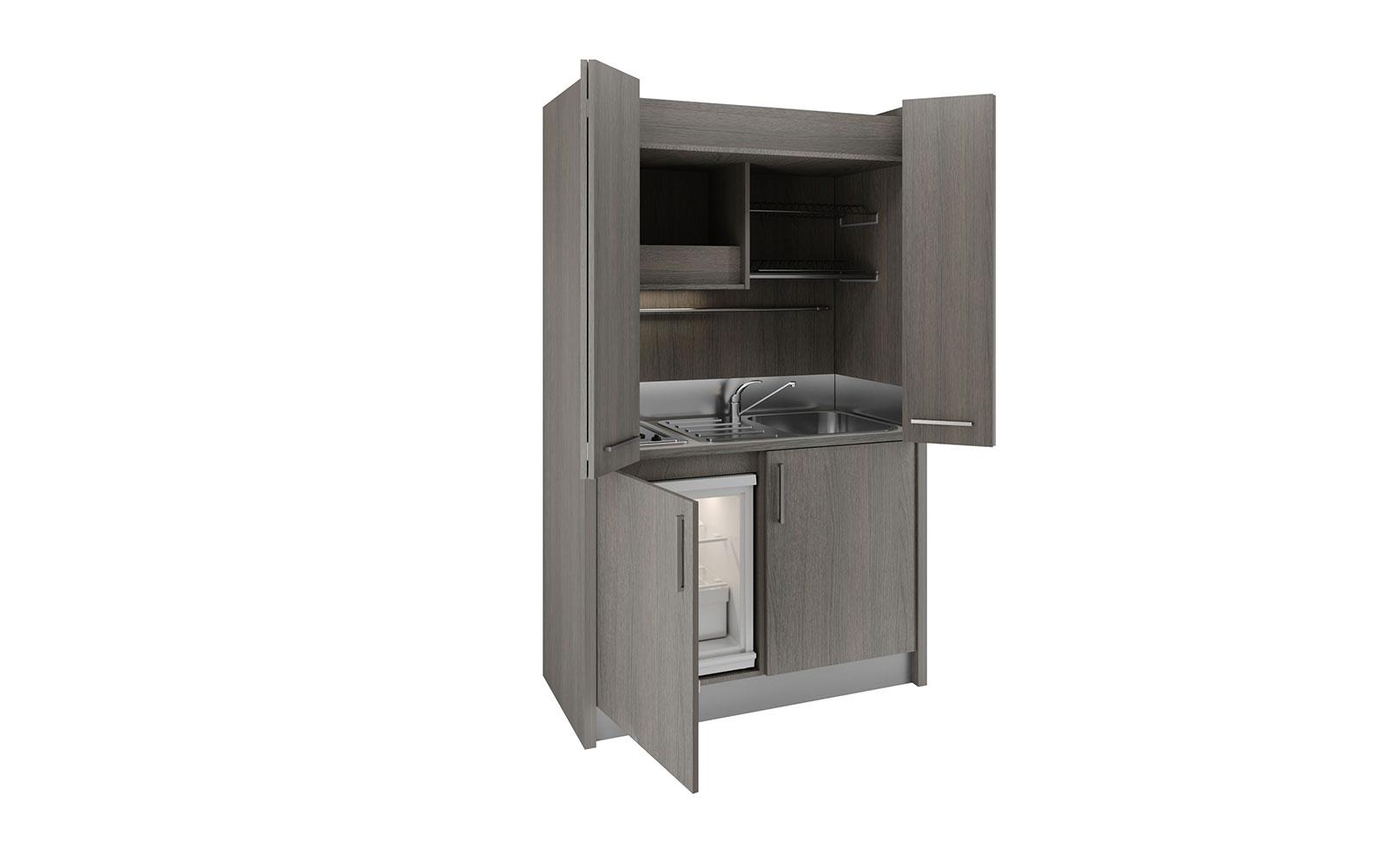 Mini Cucine A Scomparsa brianza dx - cucina armadio a scomparsa con chiusura ad ante da 128cm