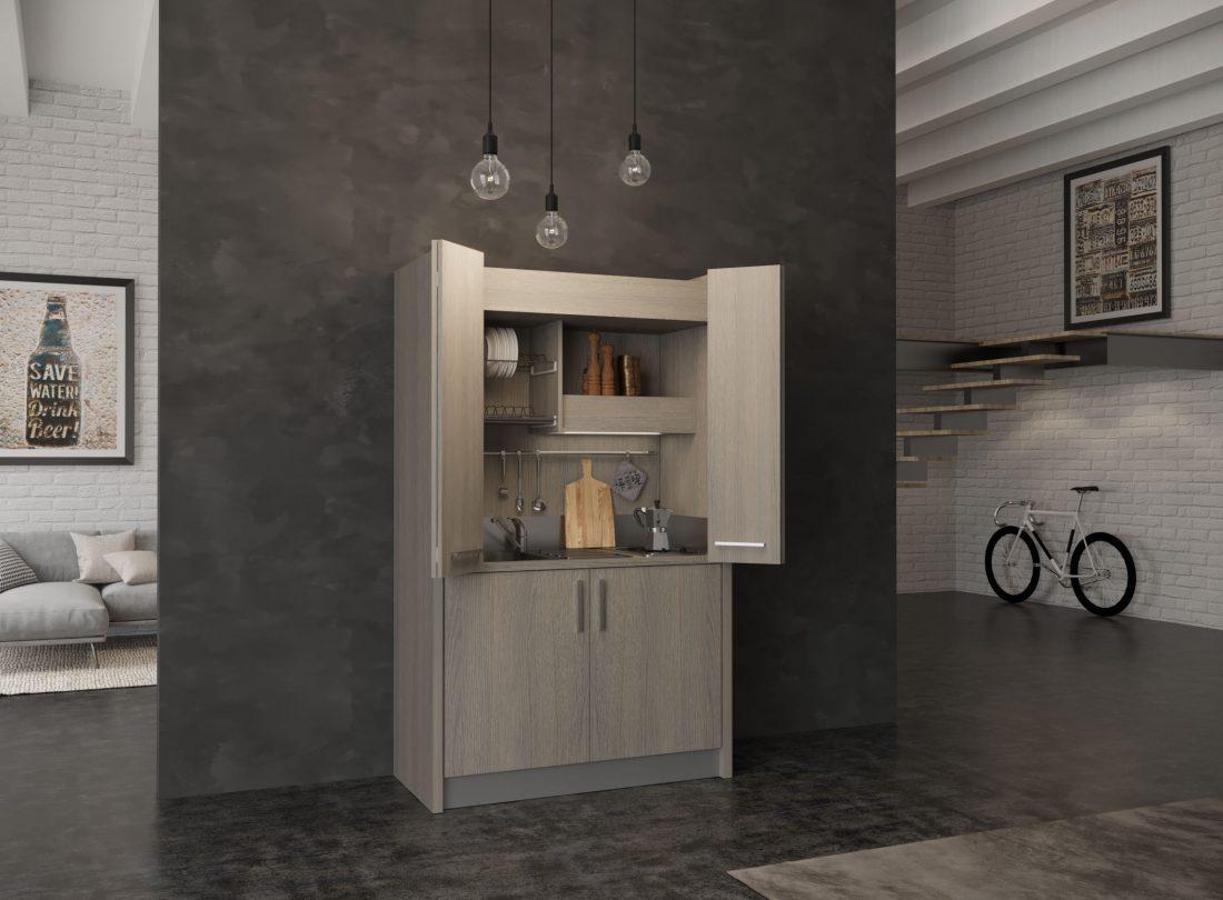 Cucina a scomparsa Brianza 43 con ante aperte, lavabo a sinistra e mini frigo a destra