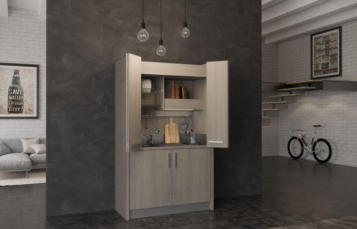 Brianza - mini cucina a scomparsa con sportelli tipo armadio