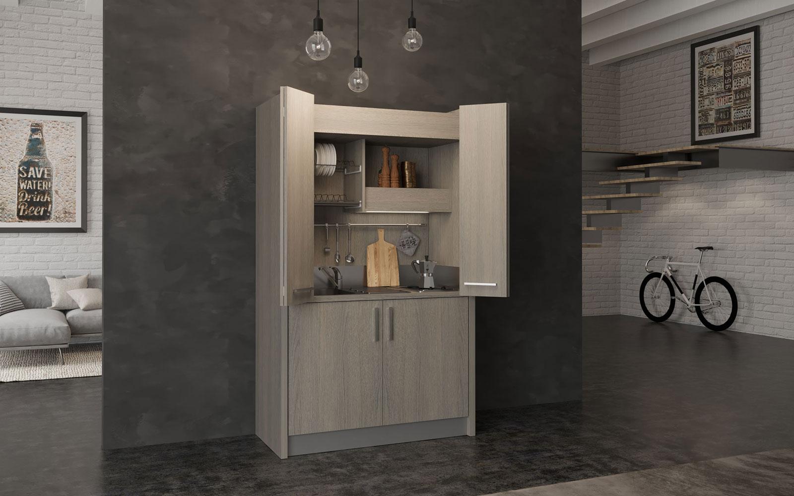 Brianza SX - Cucina a scomparsa con ante tipo armadio e mini frigo
